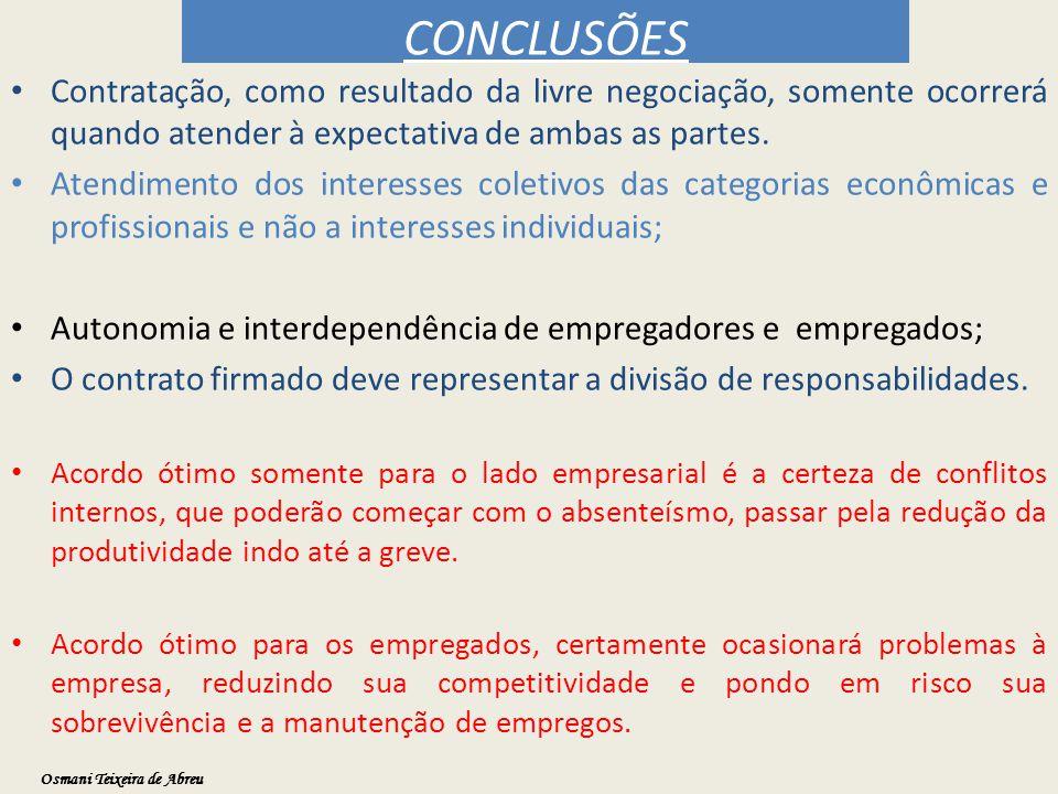 CONCLUSÕES Contratação, como resultado da livre negociação, somente ocorrerá quando atender à expectativa de ambas as partes. Atendimento dos interess