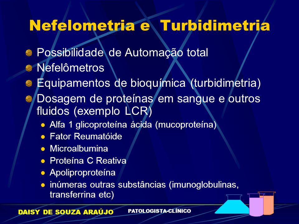 DAISY DE SOUZA ARAÚJO PATOLOGISTA-CLÍNICO Nefelometria e Turbidimetria Possibilidade de Automação total Nefelômetros Equipamentos de bioquímica (turbi