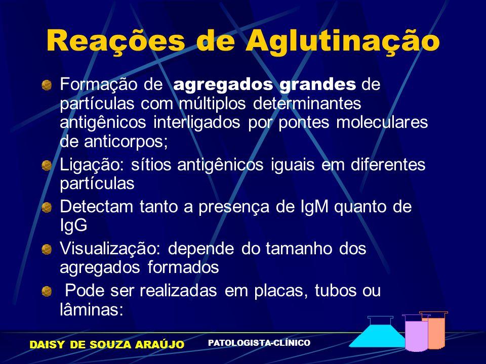 DAISY DE SOUZA ARAÚJO PATOLOGISTA-CLÍNICO Reações de Aglutinação Formação de agregados grandes de partículas com múltiplos determinantes antigênicos i