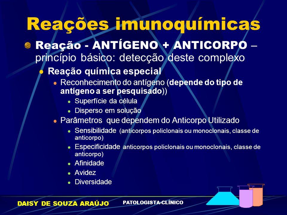 DAISY DE SOUZA ARAÚJO PATOLOGISTA-CLÍNICO Reações imunoquímicas Reação - ANTÍGENO + ANTICORPO – princípio básico: detecção deste complexo Reação quími
