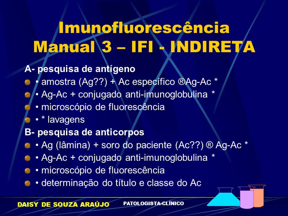 DAISY DE SOUZA ARAÚJO PATOLOGISTA-CLÍNICO Imunofluorescência Manual 3 – IFI - INDIRETA A- pesquisa de antígeno amostra (Ag??) + Ac específico ®Ag-Ac *