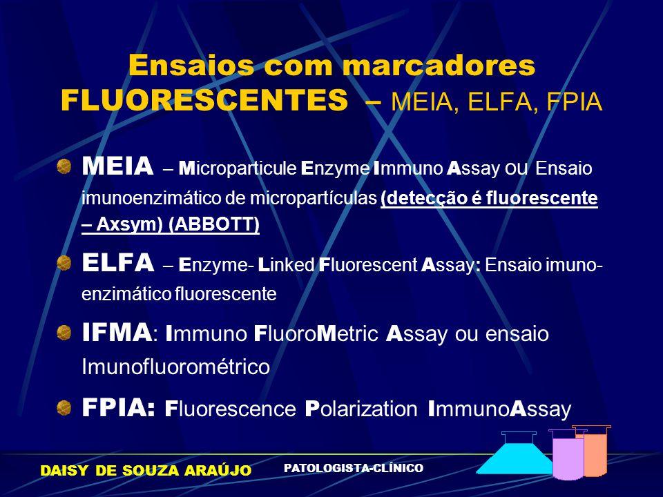DAISY DE SOUZA ARAÚJO PATOLOGISTA-CLÍNICO Ensaios com marcadores FLUORESCENTES – MEIA, ELFA, FPIA MEIA – M icroparticule E nzyme I mmuno A ssay ou Ens