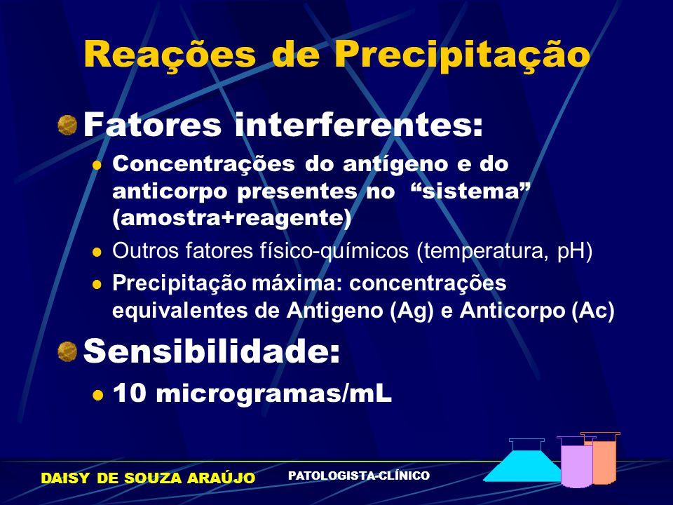 """DAISY DE SOUZA ARAÚJO PATOLOGISTA-CLÍNICO Reações de Precipitação Fatores interferentes: Concentrações do antígeno e do anticorpo presentes no """"sistem"""