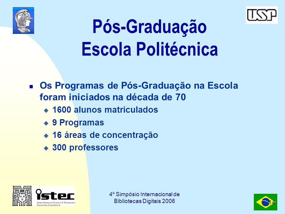 4º Simpósio Internacional de Bibliotecas Digitais 2006 14 Pós-Graduação Escola Politécnica Os Programas de Pós-Graduação na Escola foram iniciados na década de 70  1600 alunos matriculados  9 Programas  16 áreas de concentração  300 professores