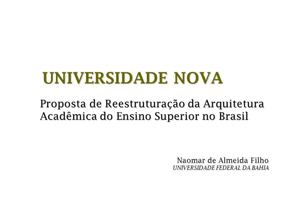 Naomar de Almeida Filho UNIVERSIDADE FEDERAL DA BAHIA Proposta de Reestruturação da Arquitetura Acadêmica do Ensino Superior no Brasil UNIVERSIDADE NO