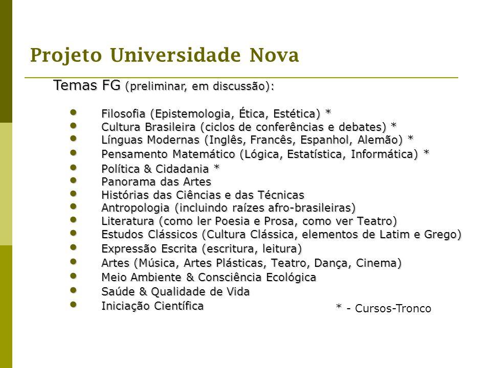 Projeto Universidade Nova Filosofia (Epistemologia, Ética, Estética) * Filosofia (Epistemologia, Ética, Estética) * Cultura Brasileira (ciclos de conf