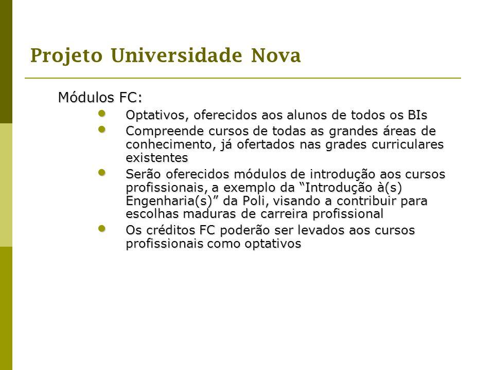Projeto Universidade Nova Módulos FC: Optativos, oferecidos aos alunos de todos os BIs Optativos, oferecidos aos alunos de todos os BIs Compreende cur