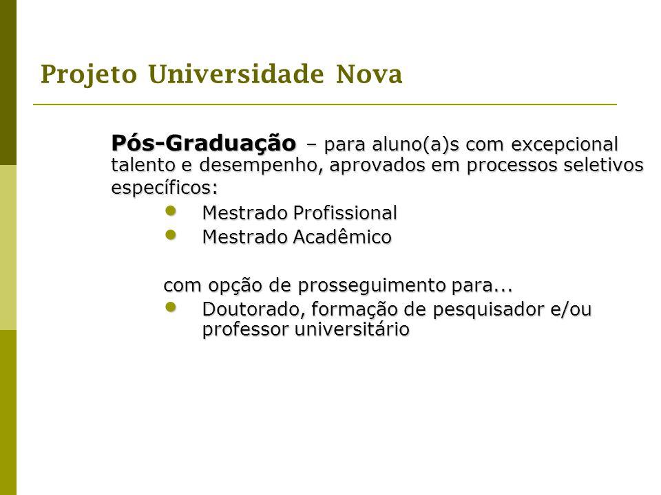 Projeto Universidade Nova Pós-Graduação – para aluno(a)s com excepcional talento e desempenho, aprovados em processos seletivos específicos: Mestrado