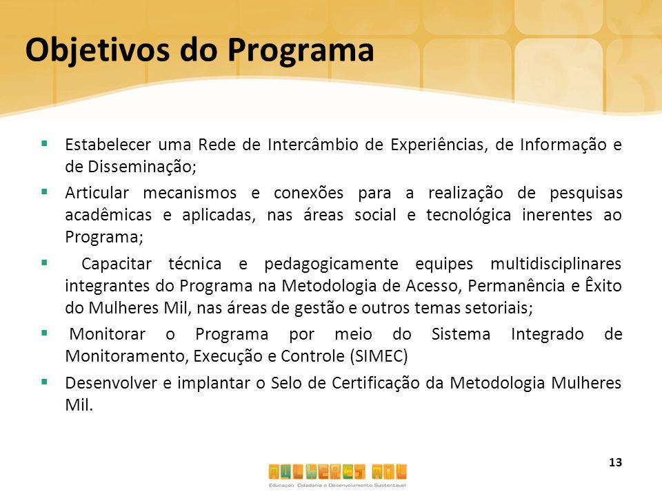 Objetivos do Programa  Estabelecer uma Rede de Intercâmbio de Experiências, de Informação e de Disseminação;  Articular mecanismos e conexões para a