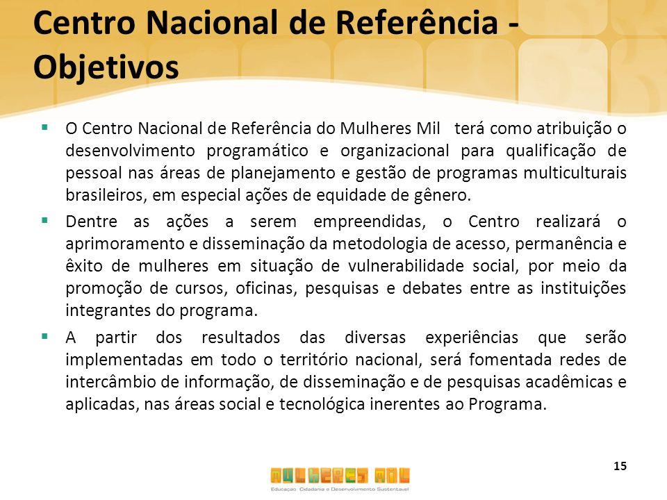 Centro Nacional de Referência - Objetivos  O Centro Nacional de Referência do Mulheres Mil terá como atribuição o desenvolvimento programático e orga