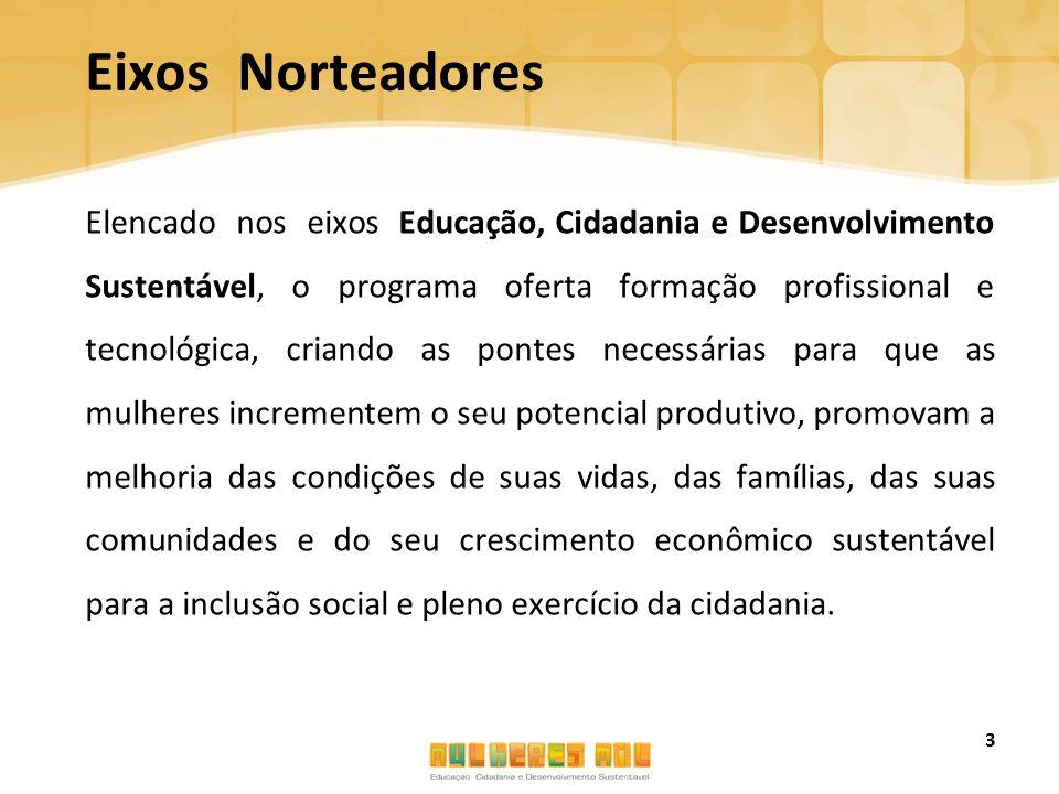 Eixos Norteadores Elencado nos eixos Educação, Cidadania e Desenvolvimento Sustentável, o programa oferta formação profissional e tecnológica, criando