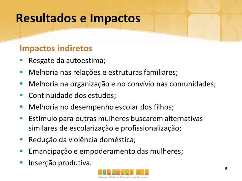 Resultados e Impactos Impactos indiretos  Resgate da autoestima;  Melhoria nas relações e estruturas familiares;  Melhoria na organização e no conv