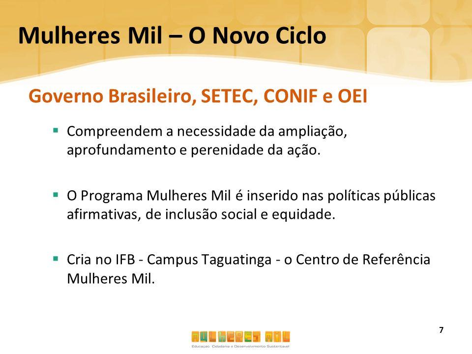 Mulheres Mil – O Novo Ciclo Governo Brasileiro, SETEC, CONIF e OEI  Compreendem a necessidade da ampliação, aprofundamento e perenidade da ação.  O
