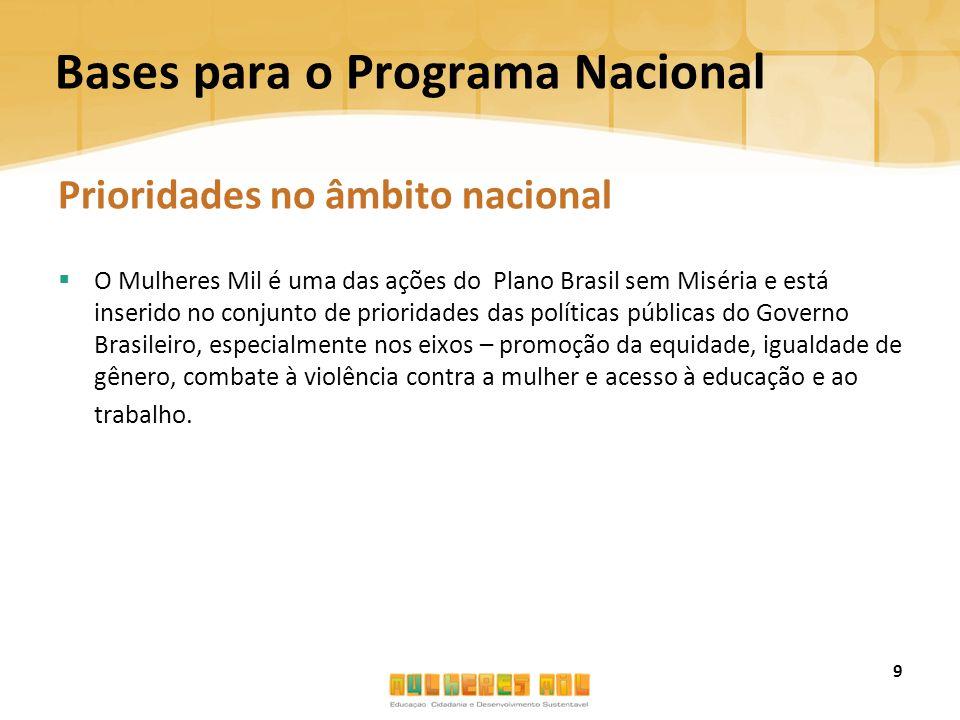 Bases para o Programa Nacional Prioridades no âmbito nacional  O Mulheres Mil é uma das ações do Plano Brasil sem Miséria e está inserido no conjunto