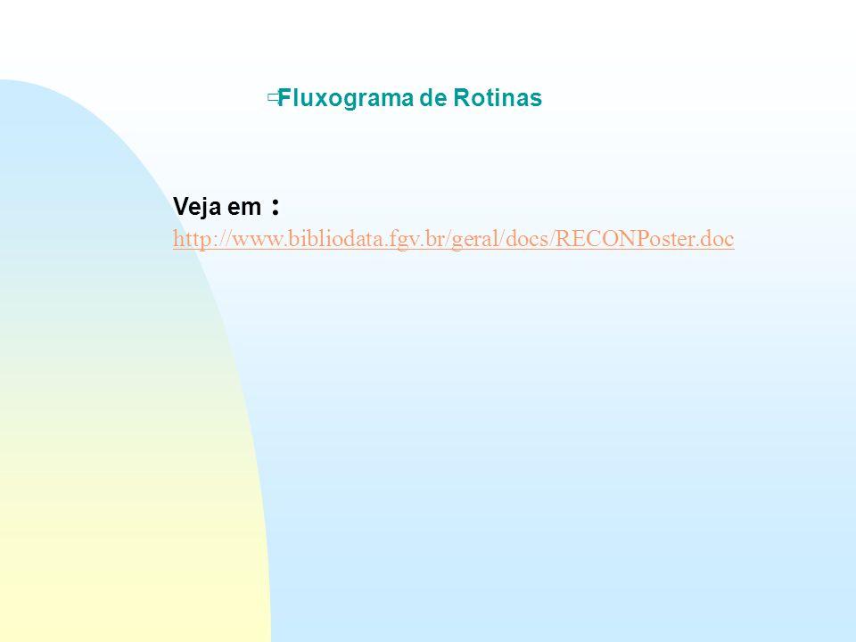  Fluxograma de Rotinas Veja em : http://www.bibliodata.fgv.br/geral/docs/RECONPoster.doc http://www.bibliodata.fgv.br/geral/docs/RECONPoster.doc