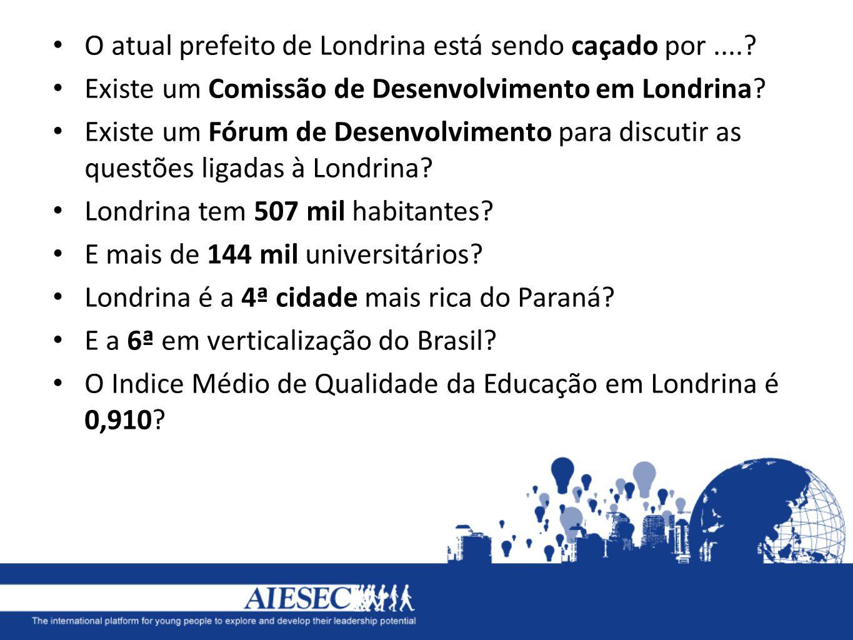 O atual prefeito de Londrina está sendo caçado por....? Existe um Comissão de Desenvolvimento em Londrina? Existe um Fórum de Desenvolvimento para dis