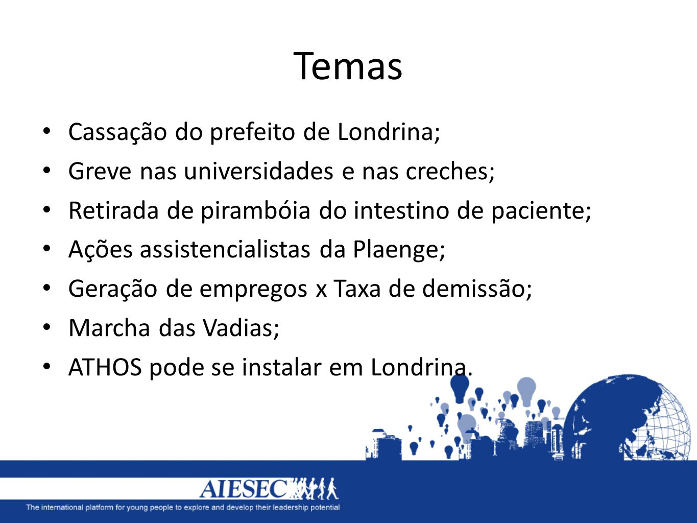 Temas Cassação do prefeito de Londrina; Greve nas universidades e nas creches; Retirada de pirambóia do intestino de paciente; Ações assistencialistas