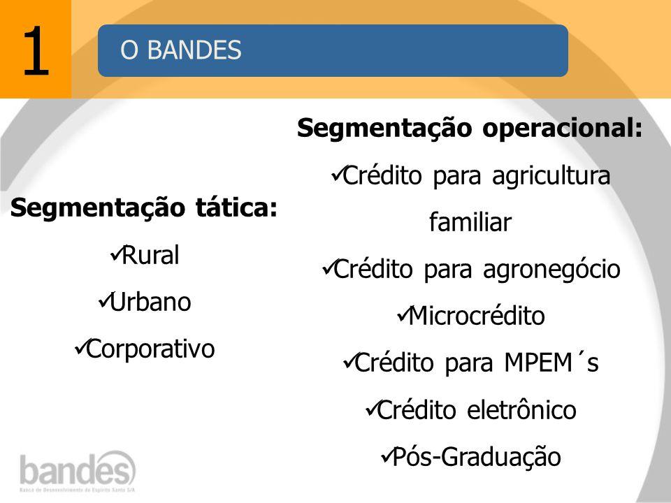 1 Segmentação tática: Rural Urbano Corporativo Segmentação operacional: Crédito para agricultura familiar Crédito para agronegócio Microcrédito Crédito para MPEM´s Crédito eletrônico Pós-Graduação O BANDES