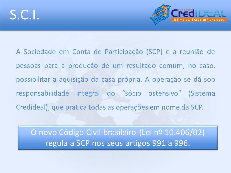 S.C.I. A Sociedade em Conta de Participação (SCP) é a reunião de pessoas para a produção de um resultado comum, no caso, possibilitar a aquisição da c