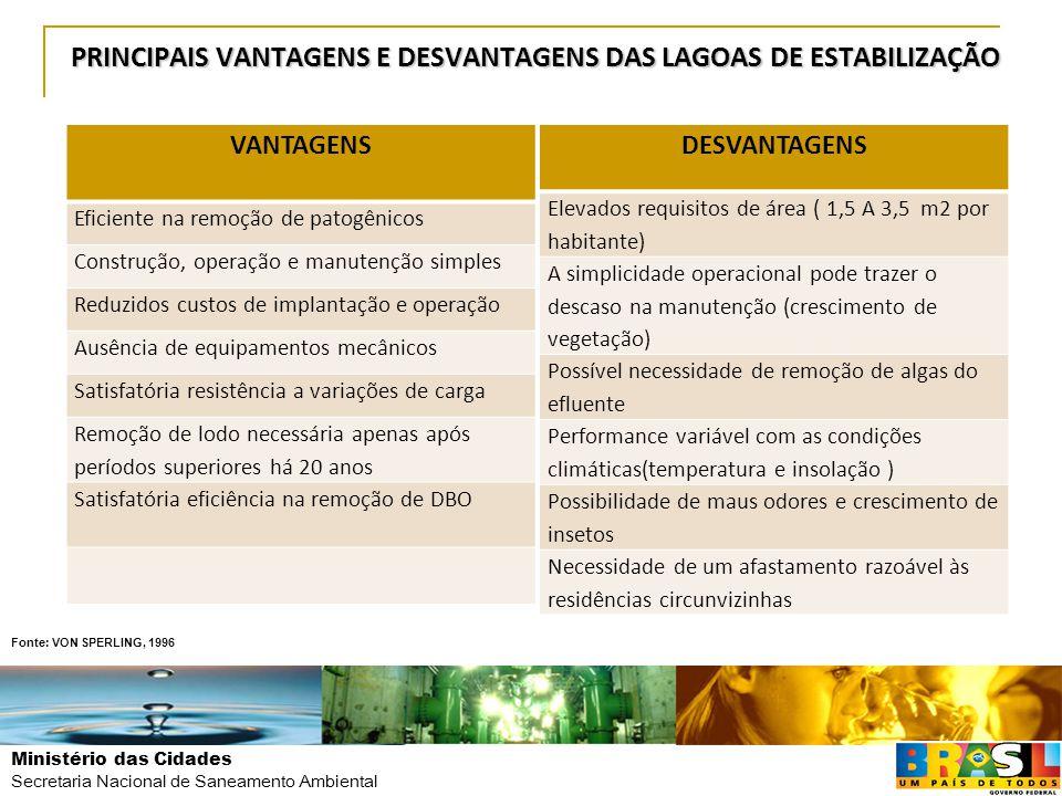 Ministério das Cidades Secretaria Nacional de Saneamento Ambiental PRINCIPAIS VANTAGENS E DESVANTAGENS DAS LAGOAS DE ESTABILIZAÇÃO VANTAGENS Eficiente