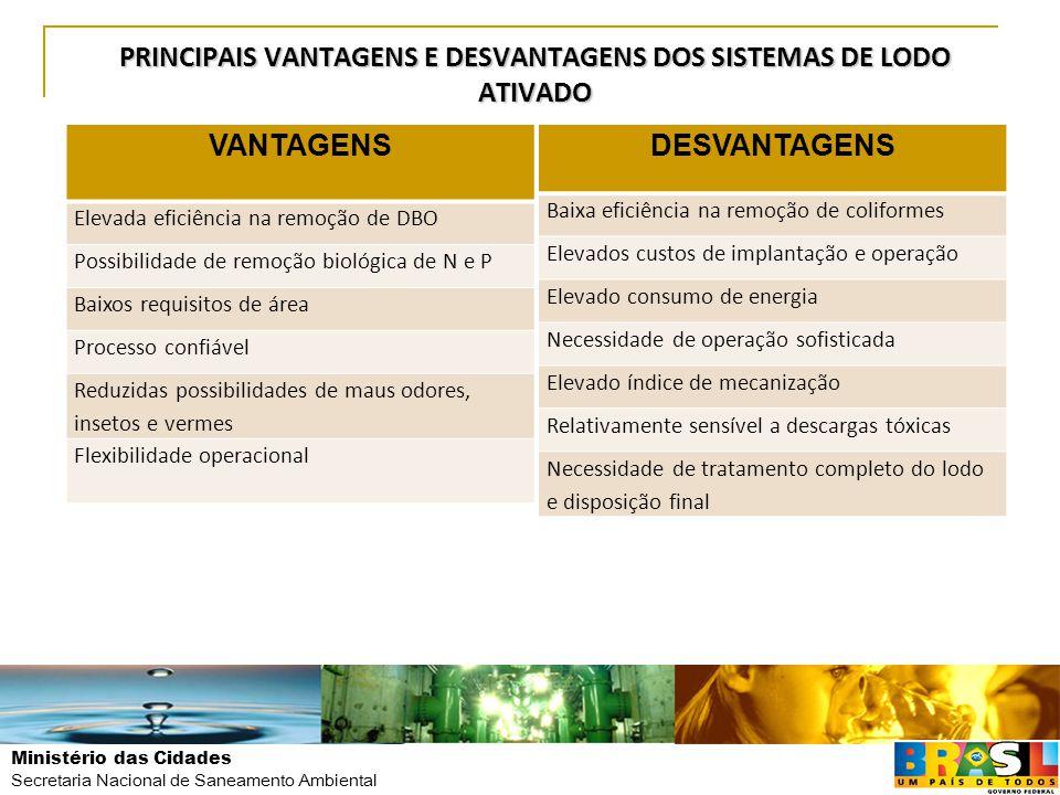 Ministério das Cidades Secretaria Nacional de Saneamento Ambiental PRINCIPAIS VANTAGENS E DESVANTAGENS DOS SISTEMAS DE LODO ATIVADO VANTAGENS Elevada