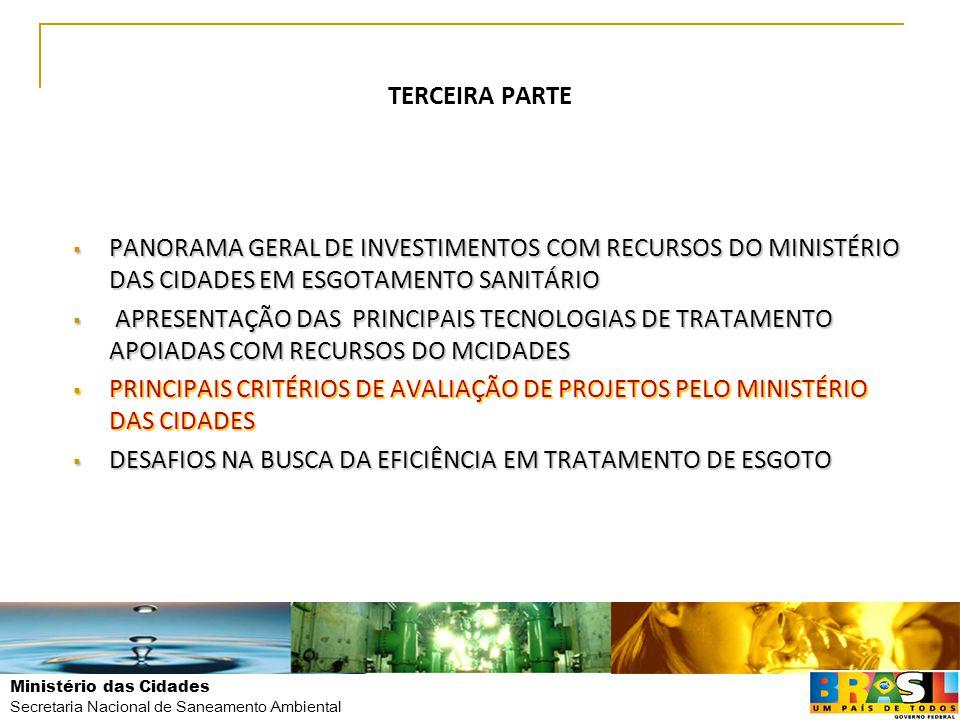 Ministério das Cidades Secretaria Nacional de Saneamento Ambiental TERCEIRA PARTE  PANORAMA GERAL DE INVESTIMENTOS COM RECURSOS DO MINISTÉRIO DAS CID