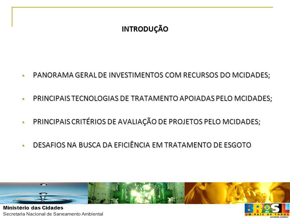 Secretaria Nacional de Saneamento Ambiental INTRODUÇÃO  PANORAMA GERAL DE INVESTIMENTOS COM RECURSOS DO MCIDADES;  PRINCIPAIS TECNOLOGIAS DE TRATAME