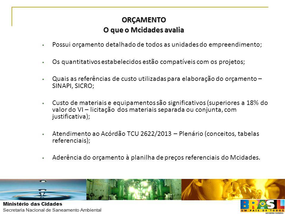 Ministério das Cidades Secretaria Nacional de Saneamento Ambiental ORÇAMENTO O que o Mcidades avalia  Possui orçamento detalhado de todos as unidades