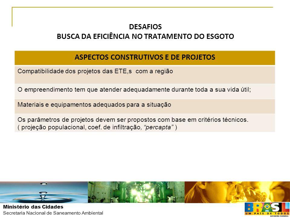 Ministério das Cidades Secretaria Nacional de Saneamento Ambiental DESAFIOS BUSCA DA EFICIÊNCIA NO TRATAMENTO DO ESGOTO ASPECTOS CONSTRUTIVOS E DE PRO