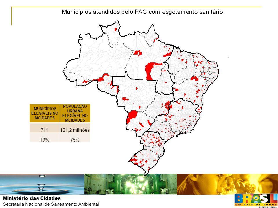Ministério das Cidades Secretaria Nacional de Saneamento Ambiental MUNICÍPIOS ELEGÍVEIS NO MCIDADES POPULAÇÃO URBANA ELEGÍVEL NO MCIDADES 711121,2 mil