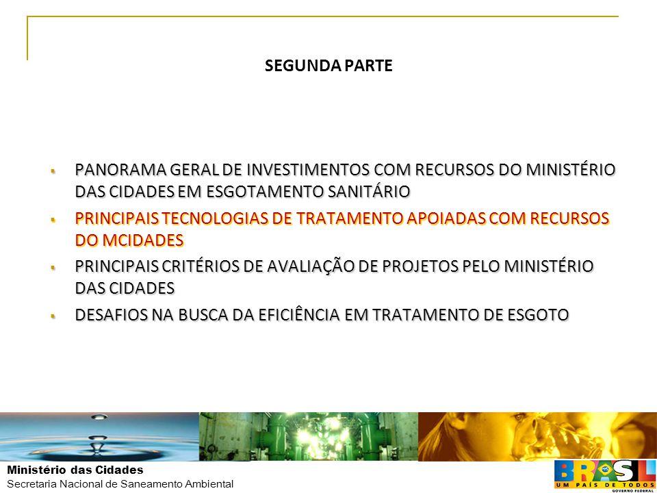 Ministério das Cidades Secretaria Nacional de Saneamento Ambiental SEGUNDA PARTE  PANORAMA GERAL DE INVESTIMENTOS COM RECURSOS DO MINISTÉRIO DAS CIDA