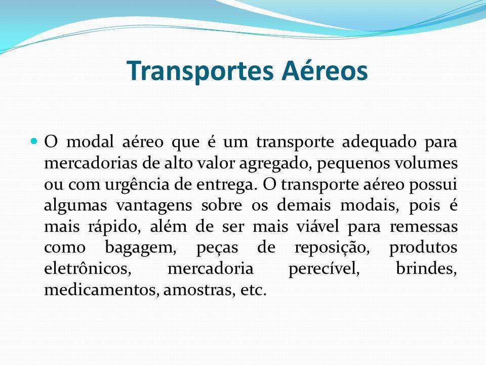 Transportes Aéreos O modal aéreo que é um transporte adequado para mercadorias de alto valor agregado, pequenos volumes ou com urgência de entrega. O