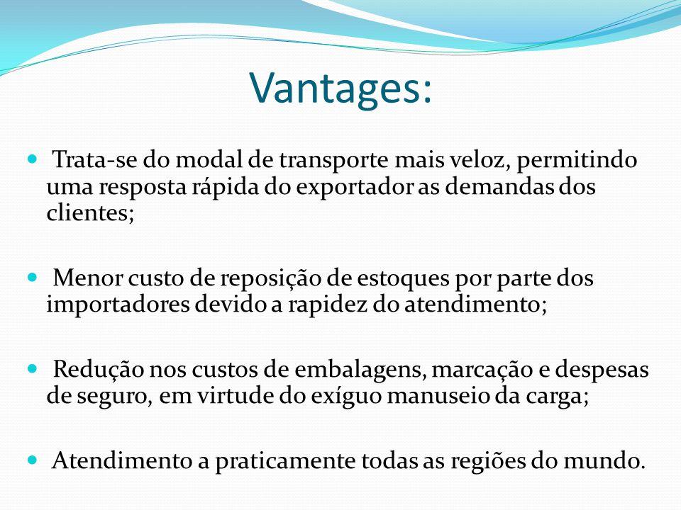 Vantages: Trata-se do modal de transporte mais veloz, permitindo uma resposta rápida do exportador as demandas dos clientes; Menor custo de reposição