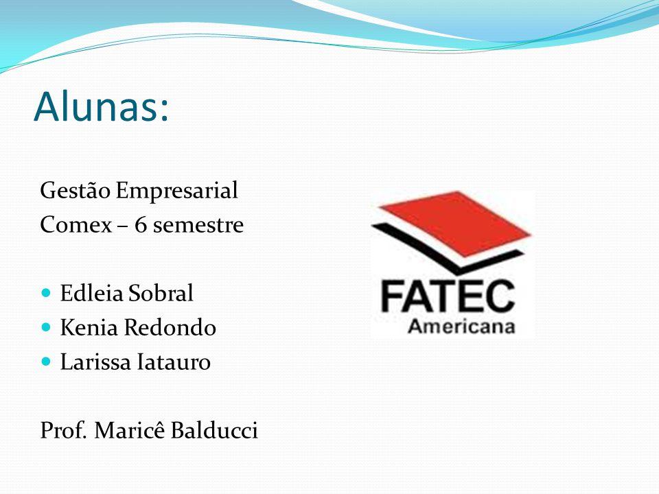 Alunas: Gestão Empresarial Comex – 6 semestre Edleia Sobral Kenia Redondo Larissa Iatauro Prof. Maricê Balducci