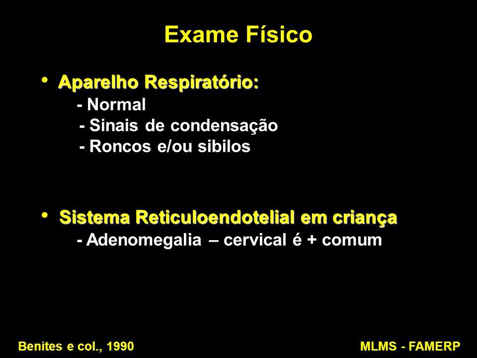 Exame Físico Aparelho Respiratório: Aparelho Respiratório: - Normal - Normal - Sinais de condensação - Sinais de condensação - Roncos e/ou sibilos - R