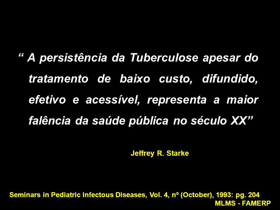 """"""" A persistência da Tuberculose apesar do tratamento de baixo custo, difundido, efetivo e acessível, representa a maior falência da saúde pública no s"""