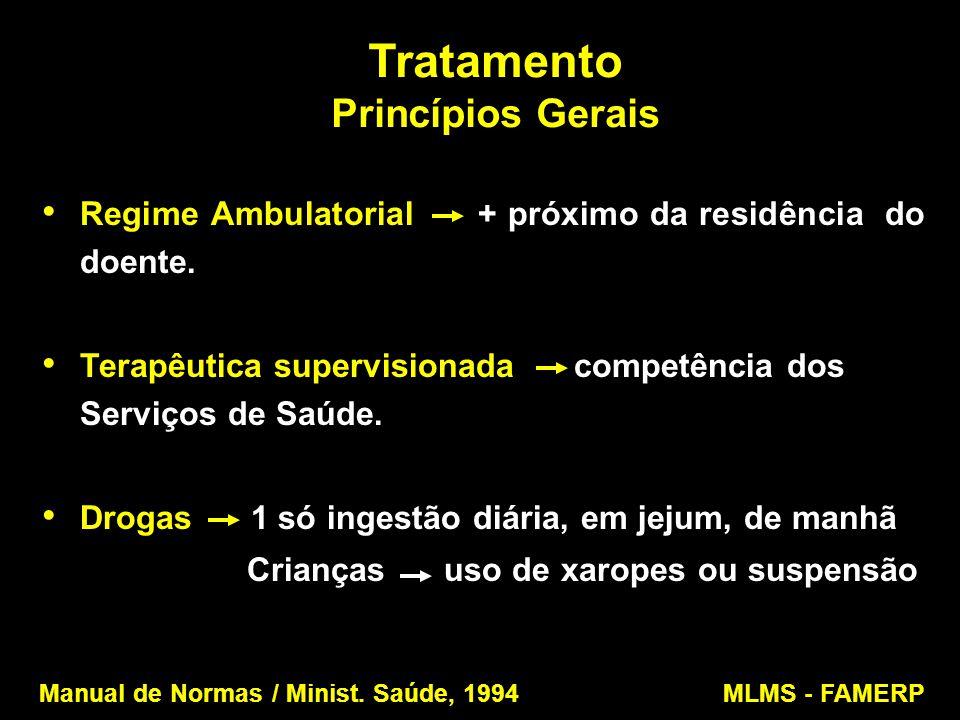 Tratamento Princípios Gerais Regime Ambulatorial + próximo da residência do doente. Terapêutica supervisionada competência dos Serviços de Saúde. Drog