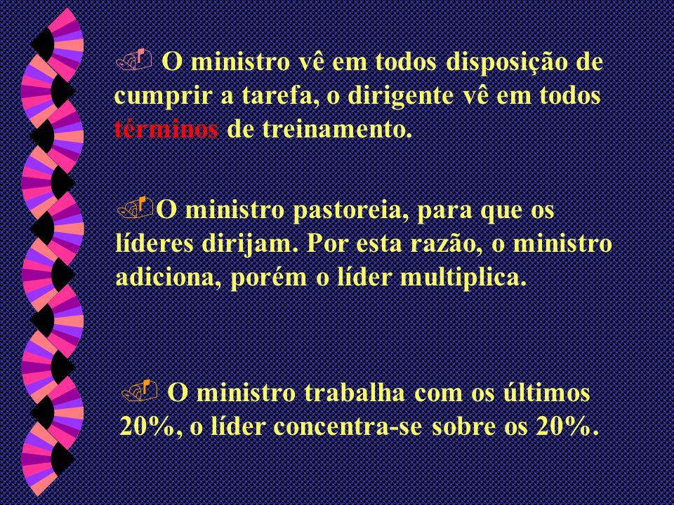 No ministério a realização vem ao fazer o trabalho, nos líderes a realização está em preparar a outros para fazer o ministério. Ou seja  O ministro f