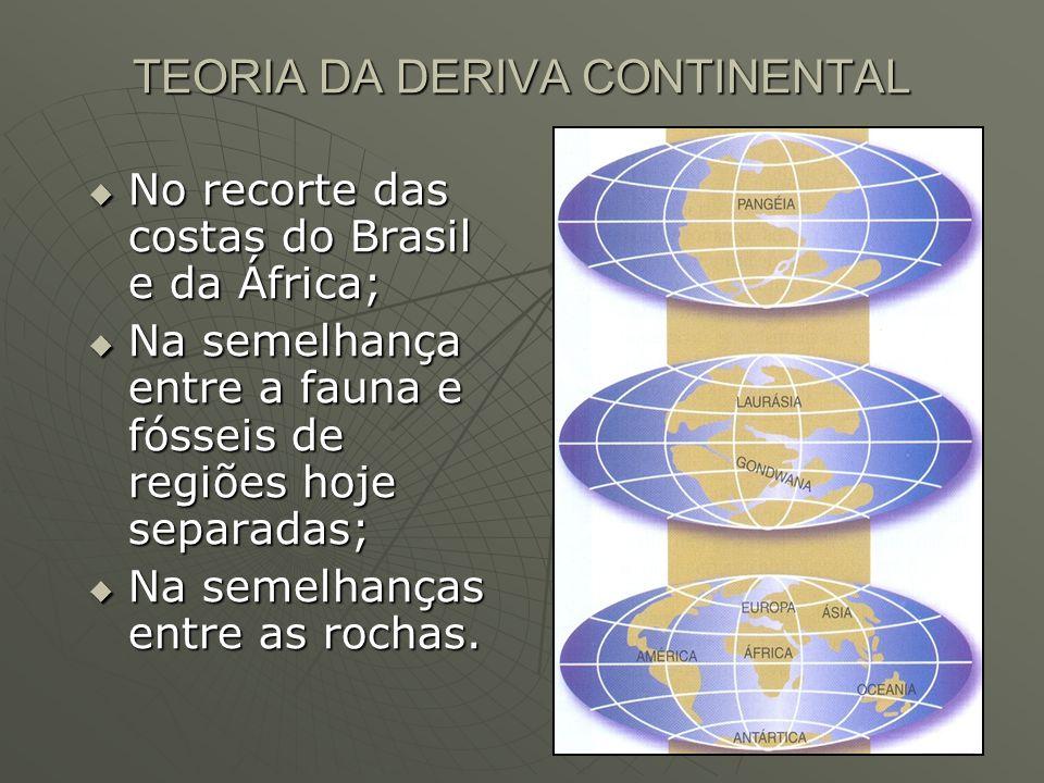  No recorte das costas do Brasil e da África;  Na semelhança entre a fauna e fósseis de regiões hoje separadas;  Na semelhanças entre as rochas.