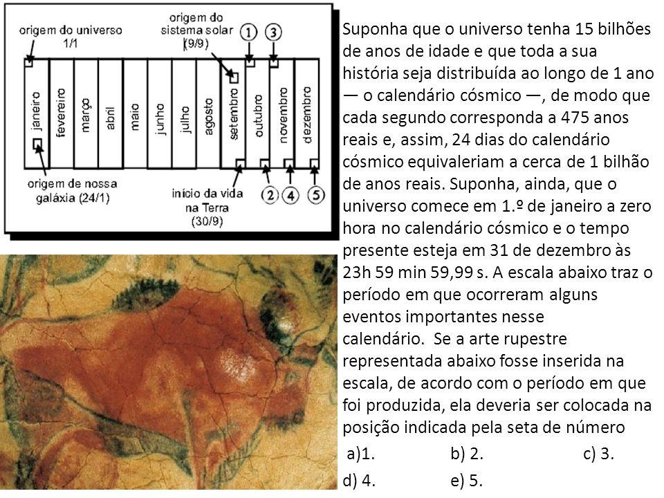 Suponha que o universo tenha 15 bilhões de anos de idade e que toda a sua história seja distribuída ao longo de 1 ano — o calendário cósmico —, de modo que cada segundo corresponda a 475 anos reais e, assim, 24 dias do calendário cósmico equivaleriam a cerca de 1 bilhão de anos reais.