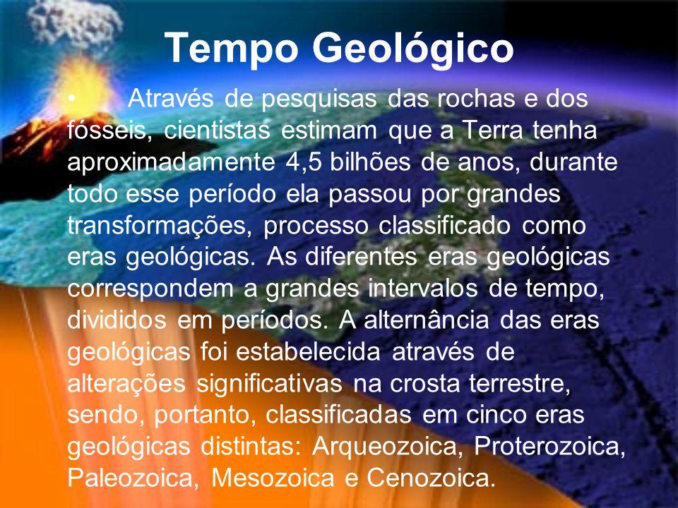 Tempo Geológico Através de pesquisas das rochas e dos fósseis, cientistas estimam que a Terra tenha aproximadamente 4,5 bilhões de anos, durante todo esse período ela passou por grandes transformações, processo classificado como eras geológicas.