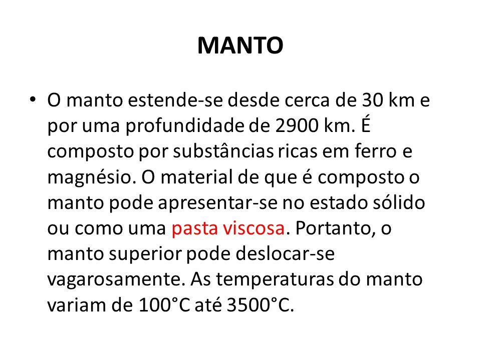 MANTO O manto estende-se desde cerca de 30 km e por uma profundidade de 2900 km.