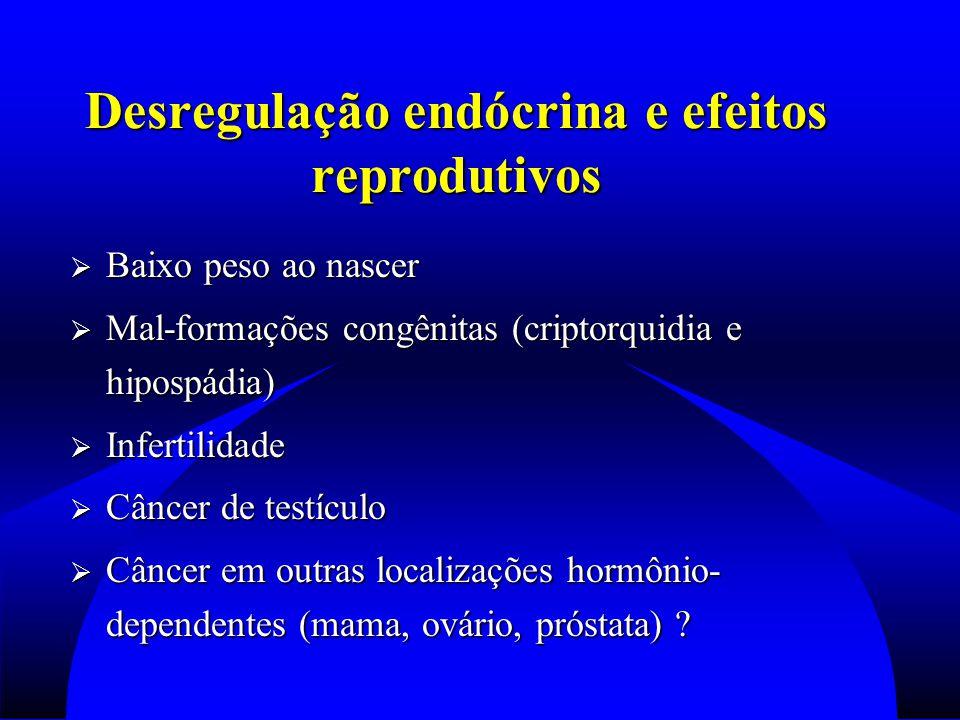 Desregulação endócrina e efeitos reprodutivos  Baixo peso ao nascer  Mal-formações congênitas (criptorquidia e hipospádia)  Infertilidade  Câncer de testículo  Câncer em outras localizações hormônio- dependentes (mama, ovário, próstata) ?