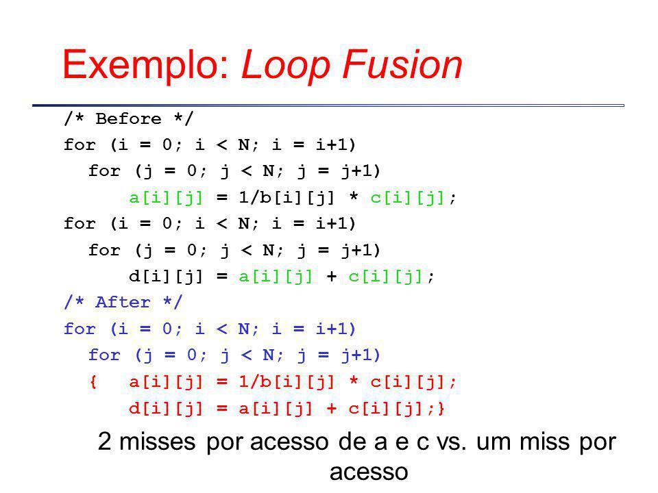 Exemplo: Loop Fusion /* Before */ for (i = 0; i < N; i = i+1) for (j = 0; j < N; j = j+1) a[i][j] = 1/b[i][j] * c[i][j]; for (i = 0; i < N; i = i+1) for (j = 0; j < N; j = j+1) d[i][j] = a[i][j] + c[i][j]; /* After */ for (i = 0; i < N; i = i+1) for (j = 0; j < N; j = j+1) {a[i][j] = 1/b[i][j] * c[i][j]; d[i][j] = a[i][j] + c[i][j];} 2 misses por acesso de a e c vs.