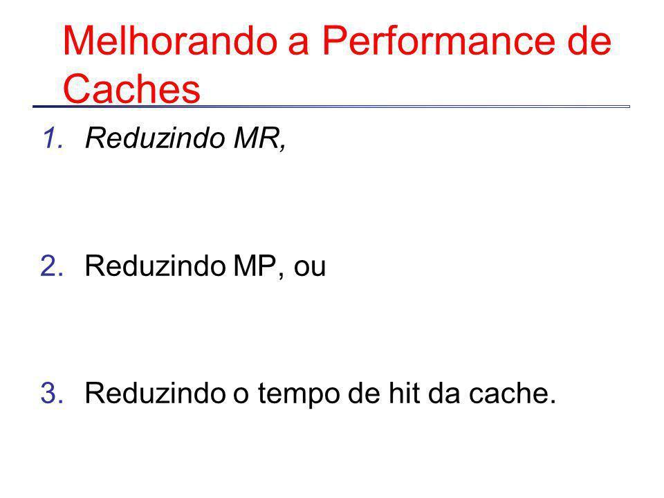Melhorando a Performance de Caches 1.Reduzindo MR, 2.Reduzindo MP, ou 3.Reduzindo o tempo de hit da cache.