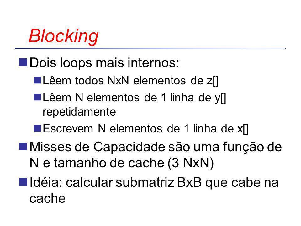 Dois loops mais internos: Lêem todos NxN elementos de z[] Lêem N elementos de 1 linha de y[] repetidamente Escrevem N elementos de 1 linha de x[] Misses de Capacidade são uma função de N e tamanho de cache (3 NxN) Idéia: calcular submatriz BxB que cabe na cache