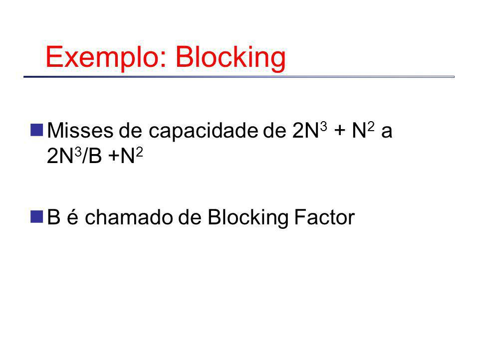 Exemplo: Blocking Misses de capacidade de 2N 3 + N 2 a 2N 3 /B +N 2 B é chamado de Blocking Factor