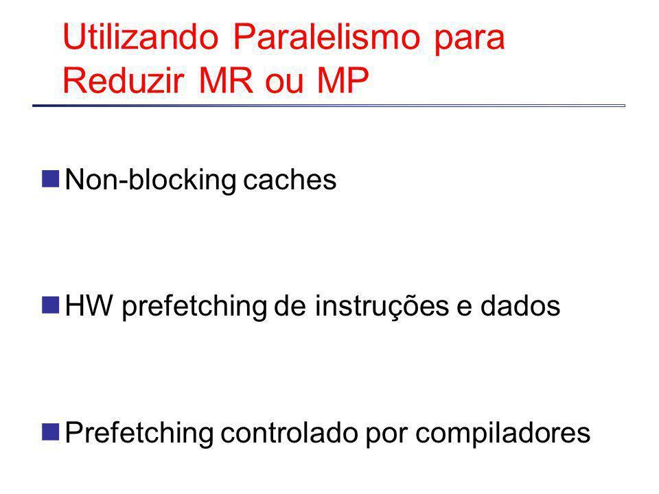 Utilizando Paralelismo para Reduzir MR ou MP Non-blocking caches HW prefetching de instruções e dados Prefetching controlado por compiladores