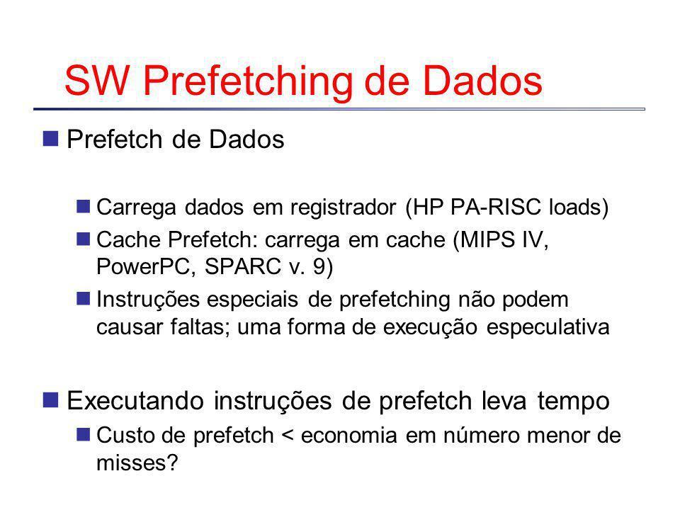 SW Prefetching de Dados Prefetch de Dados Carrega dados em registrador (HP PA-RISC loads) Cache Prefetch: carrega em cache (MIPS IV, PowerPC, SPARC v.
