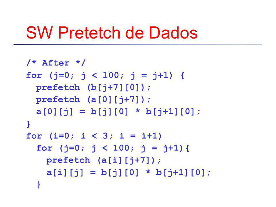 SW Pretetch de Dados /* After */ for (j=0; j < 100; j = j+1) { prefetch (b[j+7][0]); prefetch (a[0][j+7]); a[0][j] = b[j][0] * b[j+1][0]; } for (i=0;
